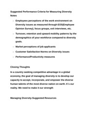 Suggested Performance Criteria for Measuring Diversity Notes