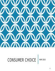 Lecture 11 - Consumer Choice - Noteshell