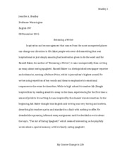 becoming a writer, two paragraphs