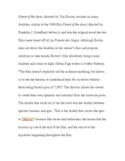 Essay on Planet of the Apes plot
