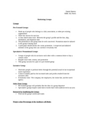 Marketing Group Notes