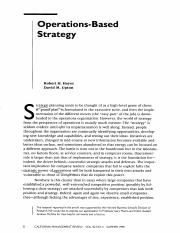 Operations-based Strategy