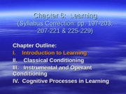 Psychology 201 Chapter 6 Learning Spring 2012 Scholar Revised
