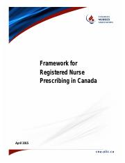 CNA April 2015 RN Prescribing Framework