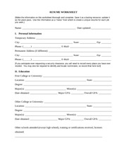 Resume Worksheet RESUME WORKSHEETMake the information on this