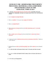 Introduction with Geologic Time Scale - Homework - Fall 2016