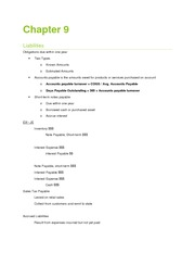 Chapter 9 Notes - Liabilities
