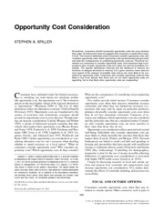 Opportunity Cost Consideration
