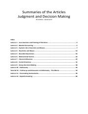 Article summaries of Judgement and Decision Making (COMPLETE)