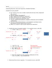 Predicting and net ionic and types of reaction and oxidation numbers KEY.docx