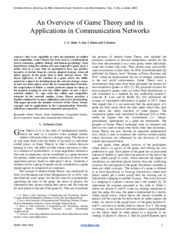 An Overview of Game Theory and its Applications in Communication Networks