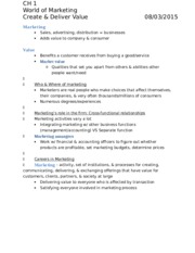 MGMT 105 Introduction to Marketing (Knuff) Chapter reading notes