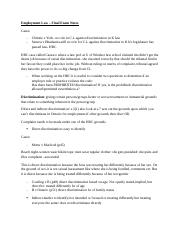 1- EMPLOYMENT LAW -Final Exam Study Notes