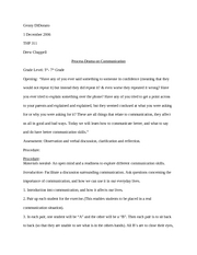 Process Drama on Communication- Lesson Plan