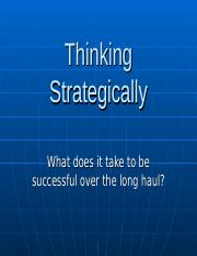 Lesson XIV Thinking Strategically
