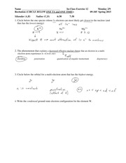 Solutions In Class Exercise 12 09-105 S 15