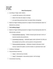 PSYC 3398 Notes on Moral Development