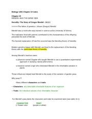 Biology 1201 Chapter 14 notes