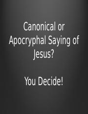 Canonical or Apocryphal Saying Game