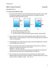 Work Sheet 5: Thermochemistry