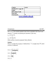 Statistics and Probability - STA301 Fall 2007 Assignment 06 Solution (1).doc