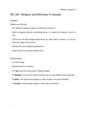 Religion of the East 100 Religion and Ethnicity in Canda