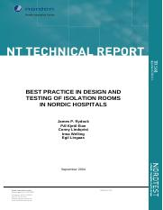 Best Practice in Design and Testing of Isolation Rooms in Nordic Hospitals