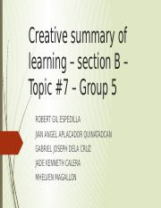 Creative summary of learning – section B –.pptx