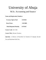 University of Abuja tax