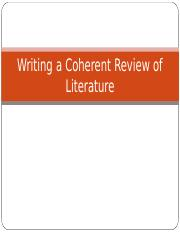 5 Writing a Coherent Review of Literature.ppt