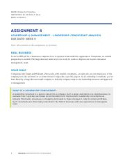 BUS508 Assignment4 LEADERSHIP & MANAGEMENT - LEADERSHIP CONSULTANT ANALYSIS