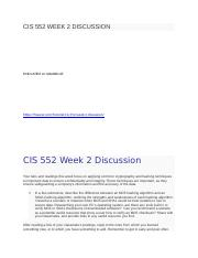 CIS 552 WEEK 2 DISCUSSION.docx