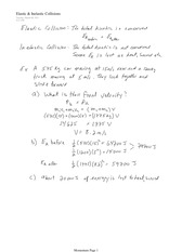 PHYS 11 Elastic and Inelastic Collisions Notes