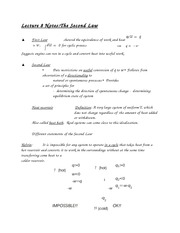 Lecture 8 Notes The Second Law