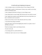 List and describe tips for budgeting and saving money.docx