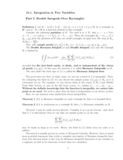 Lecture 15.1 Integration in Two Variables