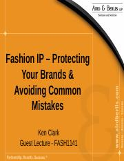 Special Lecture PowerPoint on Fashion IP