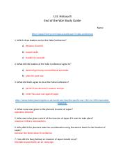 End of the War Study Guide (1)
