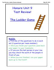 KEY - Test Review Ladder Game-with answers