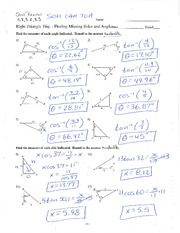 Trig Ratios with Answers