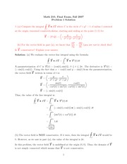 Final Exam Solution on Calculus III Fall 2007