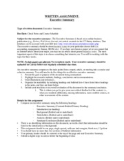 Executive Summary Assignment Sheet