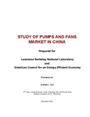 STUDY OF PUMPS AND FANS MARKET IN CHINA