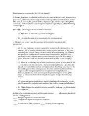 Bioinformatics questions for Bio 231 Lab Exam II.docx