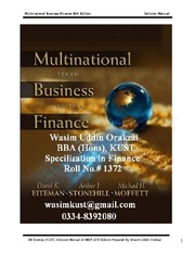 solution for book-multinational business finance-10th edition