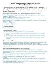 Review Sheet - History and Philosophy of Science and Medicine (1)