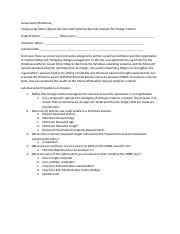 Assessment Worksheet Using Group Policy Objects and Microsoft Baseline Security Analyzer for Change