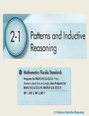 2_1 Patterns and Inductive Reasoning