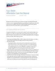 AFFORDABLE CARE ACT REPEAL FACT SHEET Center for Progress 12.2016.pdf
