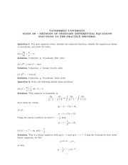 Math 198_Exam Solutions on Differential Equations and Initial Value Problems